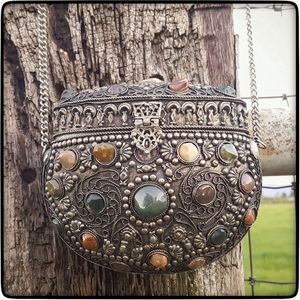 Vtg Indian Sajai metal & semi-precious stone purse